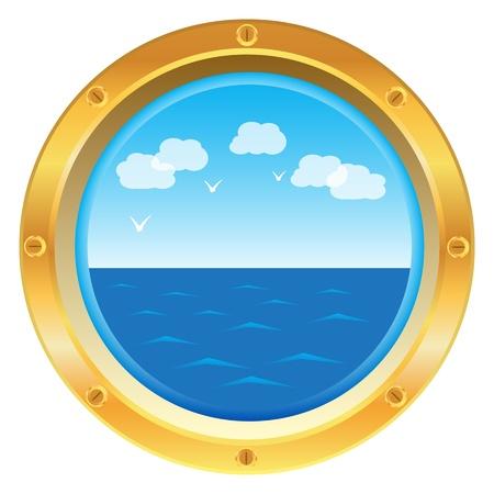 Goudgeel patrijspoort raam met uitzicht op zee op een witte achtergrond