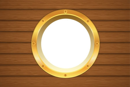 Golden yellow porthole window on a wooden ship board Vector