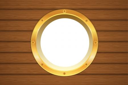 ventana ojo de buey: Ventana de ojo de buey de oro amarillo en un tablero de barco de madera