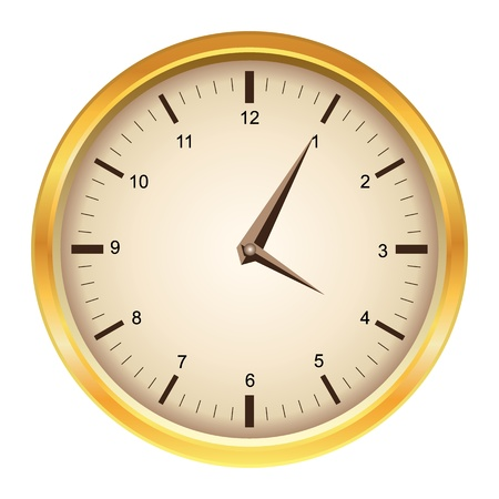 Vintage vector mechanical golden wall clock  Vector