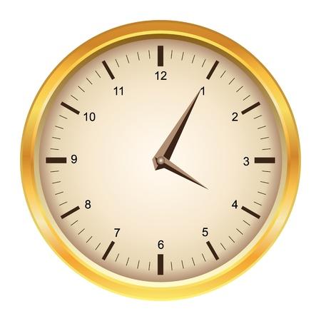 wall clock: Vintage vector mechanical golden wall clock  Illustration