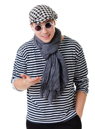 justify: Young stylish talking in camera twister man in striped clothes isolated on white background