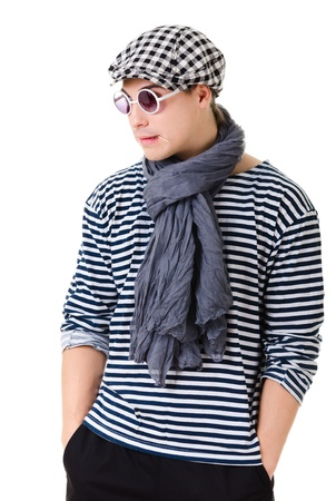 toothpick: Young retro stylish man in striped clothes, glasses and hat isolated on white background Stock Photo