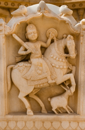 Royal rider image in cenotaphs of ancient Maharajas rulers in Bada Bagh ruins, also called Barabagh (literally Big Garden), Jaisalmer, India photo