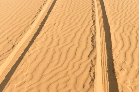 Of- road car track on gold sand dunes in desert at sunset  photo
