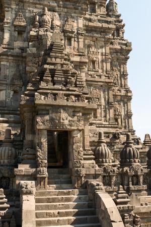 trimurti: Entrance in Brahma temple top in Candi Prambanan or Candi Rara Jonggrang Hindu temple, Java, Indonesia Stock Photo
