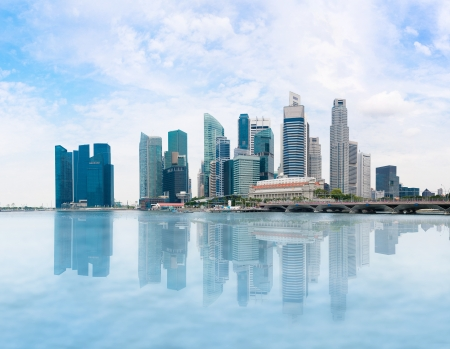 singapore building: Singapore skyline of business district and Marina Bay in day