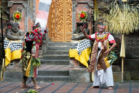 advisers: UBUD, BALI, INDONESIA - SEP 21: Actors perform advisers characters on traditional balinese performance Barong on Sep 21, 2012 in Ubud, Bali, Indonesia. Barong show is popular tourist attraction on Bali