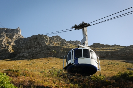 cape: Cable car to table mountain in Cape Town, South Africa  Stock Photo
