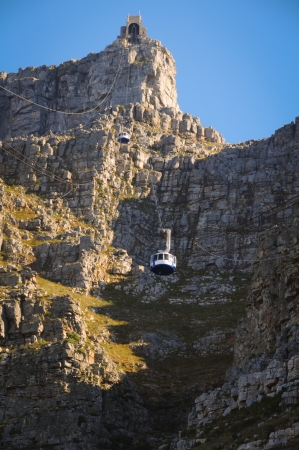 cableway: Cable car to table mountain in Cape Town, South Africa  Stock Photo