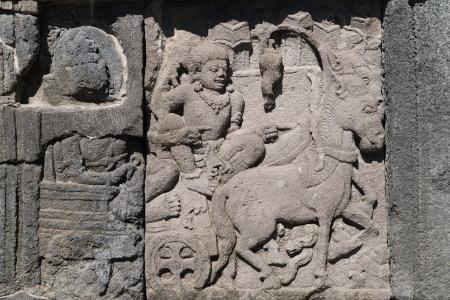 trimurti: Detail of bas-relief carving on wall of Prambanan temple, Indonesia, Java, Yogyakarta