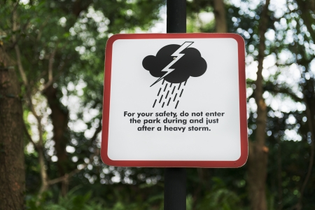 squall: Storm warning sign in a modern park  Stock Photo