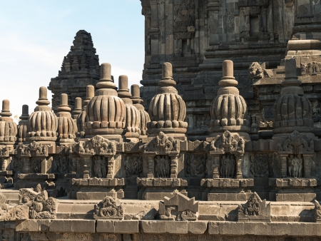 Rich decorated wall of Prambanan temple, Indonesia, Java, Yogyakarta  photo
