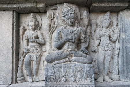 Detail of bas-relief carving on wall of Prambanan temple, Indonesia, Java, Yogyakarta  photo