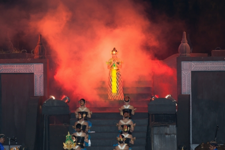 act of god: YOGYAKARTA, INDONESIA - SEP 12: Ramayana Ballet show at Prambanan temple on SEP 12, 2012  in Yogyakarta, Indonesia. It is based on epic Hindu poem and represents Javanese style, culture and music.