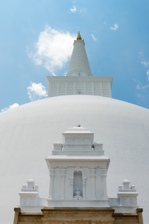 anuradhapura: White sacred stupa Ruwanmalisaya under blue sky, Anuradhapura, Sri Lanka