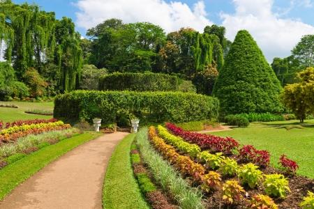 kandy: Beautiful tropical Royal Botanical Gardens, Peradeniya, Kandy, Sri Lanka Stock Photo