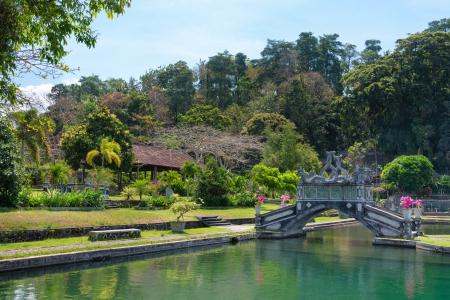 Green park with clean lake and stone balinese style arch bridge, Tirtaganga, Bali photo