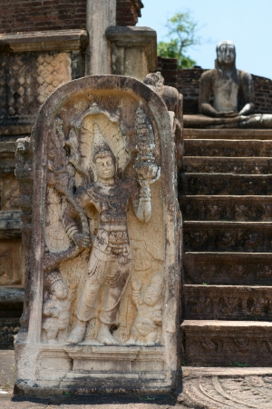 Ancient guard stone near entrance at Vatadage in Polonnaruwa, Sri Lanka  photo