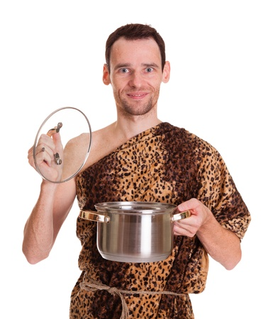 stew pan: Happy smiling wild funny man in animal fell with open stew pan isolated on white background