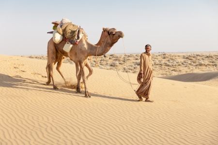 Bedouin and camels in sand dunes in desert under clean sky photo