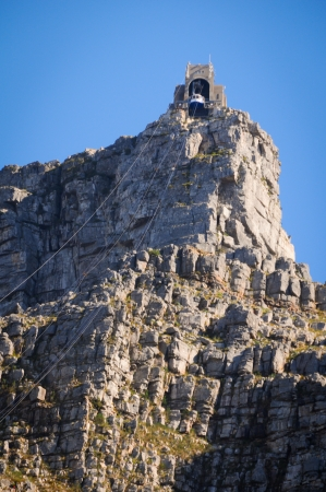 High mountain with cable car in Cape Town, South Africa  photo
