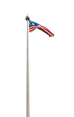 Malaysian flag on a pole isolated on white background Stock Photo
