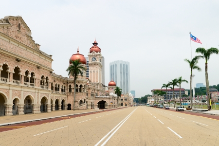 central square: Independence Merdeka Square with Sultan Abdul Samad building and 100m-high flagpole in Kuala Lumpur, Malaysia