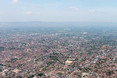 jogjakarta: Aerial view of Yogyakarta city center, Indonesia Stock Photo