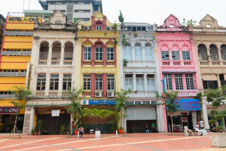 'second world war': KUALA LUMPUR - JUN 15: Grecian-Spanish style buildings on old market square (Medan Pasar Lama) on Jun 15, 2013 in Kuala Lumpur, Malaysia. Many shophouses were built around the old city center prior Second World War.