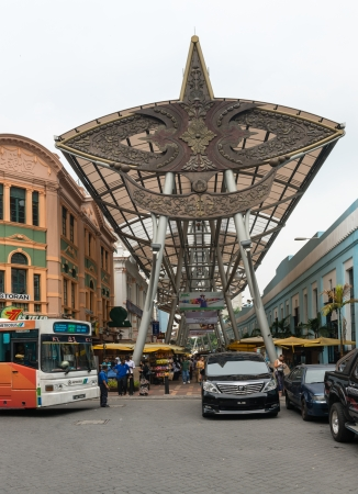 malaysia culture: KUALA LUMPUR - JUN 15: Entance in KL Central Market on Jun 15, 2013 in Kuala Lumpur, Malaysia. The market was constructed in 1888 and now it is a landmark for Malaysian culture and heritage.