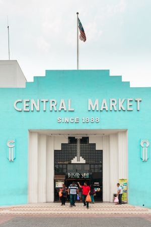 malaysia culture: KUALA LUMPUR - JUN 15: Vintage facade of KL Central Market on Jun 15, 2013 in Kuala Lumpur, Malaysia. The market was constructed in 1888 and now it is a landmark for Malaysian culture and heritage. Editorial