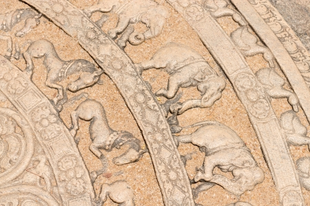 Moonstone relief is ground carving about the cycle of sansara in the ruins of ancient capital of Polonnaruwa, Sri Lanka.