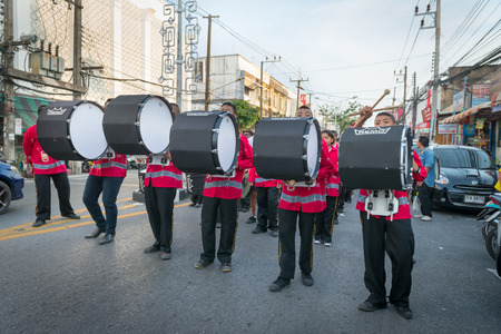 PHUKET, THAILAND - 07 FEB 2014: Musicians take part in procession of annual old Phuket town festival.