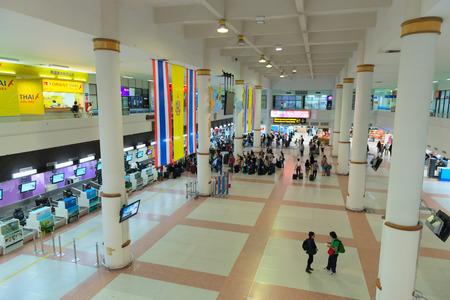 PHUKET, THAILAND - 21 NOV 2013  Check-in hall and desks in Phuket international airport