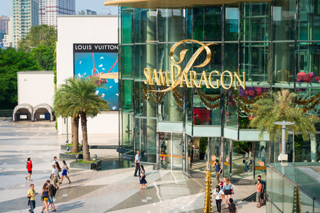 BANGKOK, THAILAND - 21 NOV 2013 Entrance in Siam Paragon shopping mall  It is popular luxury fashion shopping mall in Bangkok