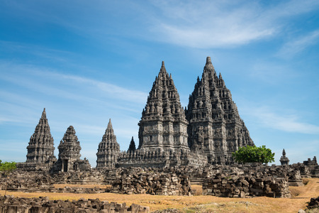 trimurti: Candi Prambanan or Candi Rara Jonggrang is a 9th-century Hindu temple compound in Central Java, Indonesia Stock Photo