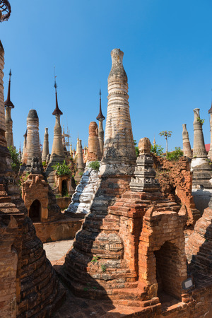 inlay: Ruins of ancient Burmese Buddhist pagodas in the village of Indein on Inlay Lake in Shan State, Myanmar (Burma). Stock Photo