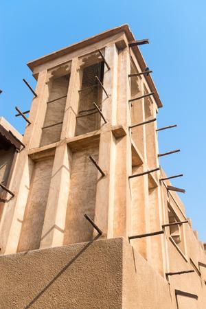 bastakiya: Windtower in the old merchant quarter of Bastakiya in Dubai, United Arab Emirates. It is iconic architectural symbols of Dubai and the UAE.