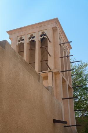 bastakiya: Windtower in the old merchant quarter of Bastakiya in Dubai, United Arab Emirates Stock Photo