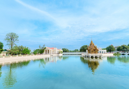 grand pa: Blue lake with Thai-style golden pavilion in the middle. Bang Pa-In Palace, Ayutthaya, Thailand