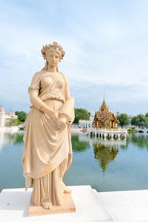 grand pa: Statue at royal summer Bang Pa-In Palace near Bangkok, Thailand