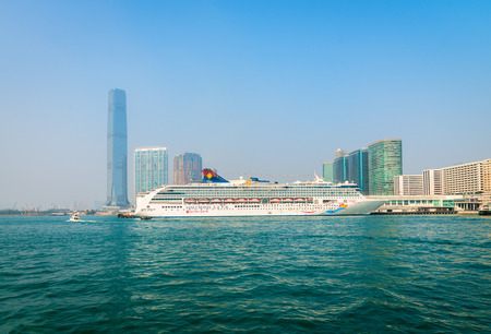 superstar: HONG KONG CHINA  18 JAN 2015: A luxury cruise liner the Superstar Virgo from Star Cruises moored and waiting for passengers at the central pier in Kowloon. Editorial