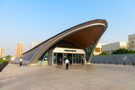 evident: DUBAI UAE  16 JULY 2014: Sleek modern styling is evident at the entrance to one of Dubais metro stations. Editorial