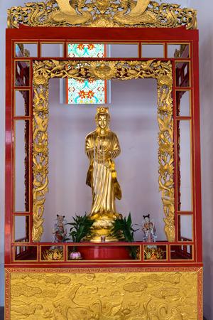 mercy: BANGKOK, THAILAND - 8 FEB 2016: Statue of Kuan Yin, the Goddess of Mercy at Canton Shrine