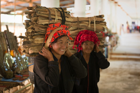 strong chin: INLE LAKE, MYANMAR - 07 JAN 2014: Pretty Burmese women carrying a bundle of heavy wood wearing traditional clothing