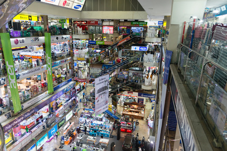 accessed: BANGKOK, THAILAND - 07 MAY 2014: Pantip Plaza interior the most famous Bangkok electronics mall for electronics, technology, computers, many levels accessed by elevators.