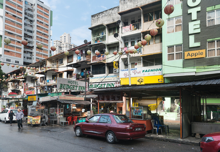 bukit: KUALA LUMPUR, MALAYSIA - 02 NOV 2014: Jalan Alor street for low cost hotels and hostels in Bukit Bintang area for the young back packers. Budget accommodation at a guest house,  in the city area.