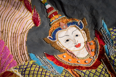religious clothing: Burmese traditional embroidery tapestry with beautiful  beads and pearls from Inle Lake Myanmar