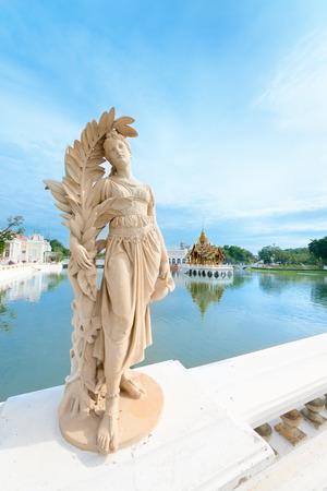 grand pa: BANG PA-IN, THAILAND - 24 NOV 2013: Statue at royal summer Bang Pa-In Palace near Bangkok